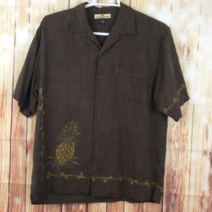 Tommy Bahama | Brown Pineapple 100% Silk Shirt M